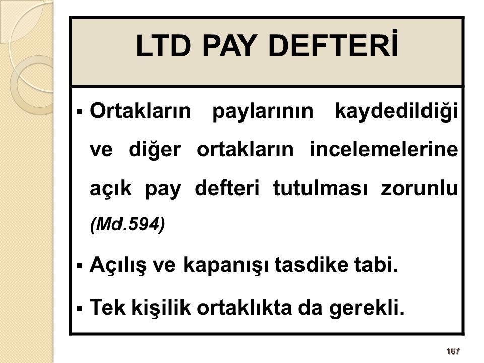167167 LTD PAY DEFTERİ  Ortakların paylarının kaydedildiği ve diğer ortakların incelemelerine açık pay defteri tutulması zorunlu (Md.594)  Açılış ve kapanışı tasdike tabi.