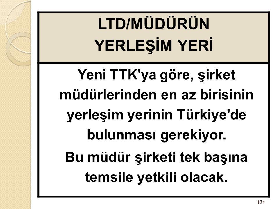 171171 LTD/MÜDÜRÜN YERLEŞİM YERİ Yeni TTK'ya göre, şirket müdürlerinden en az birisinin yerleşim yerinin Türkiye'de bulunması gerekiyor. Bu müdür şirk