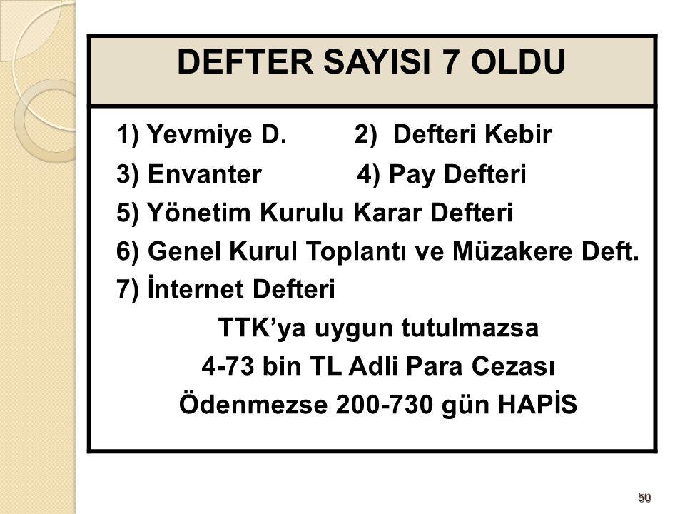 5050 DEFTER SAYISI 7 OLDU 1) Yevmiye D.