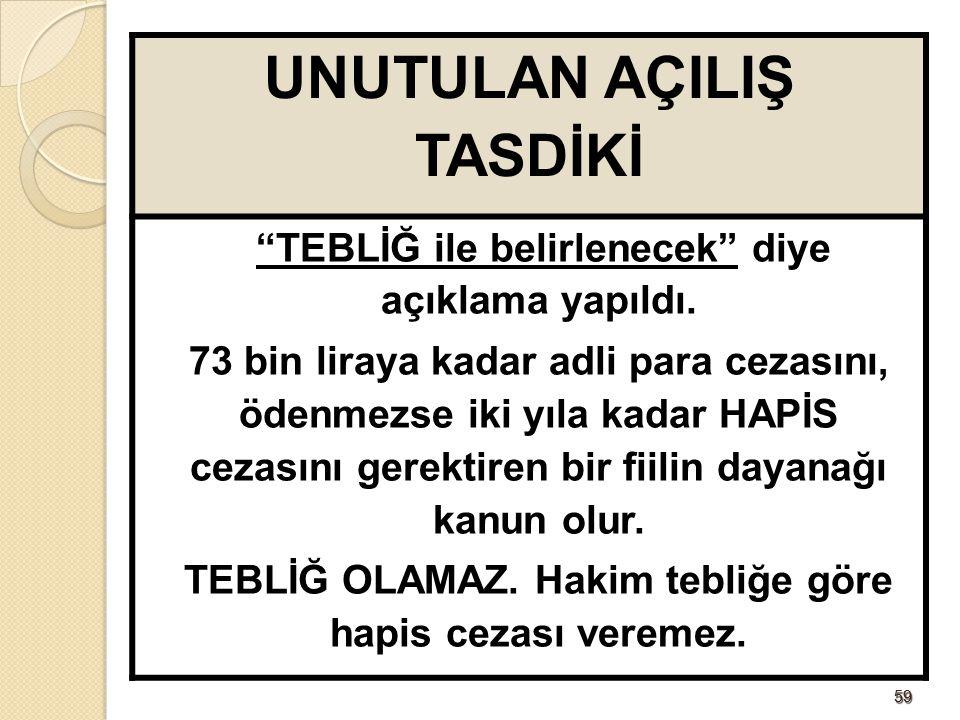 """5959 UNUTULAN AÇILIŞ TASDİKİ """"TEBLİĞ ile belirlenecek"""" diye açıklama yapıldı. 73 bin liraya kadar adli para cezasını, ödenmezse iki yıla kadar HAPİS c"""