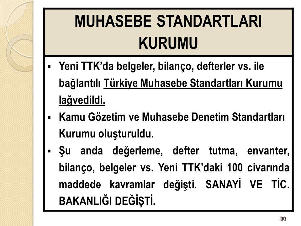 9090 MUHASEBE STANDARTLARI KURUMU  Yeni TTK'da belgeler, bilanço, defterler vs. ile bağlantılı Türkiye Muhasebe Standartları Kurumu lağvedildi.  Kam