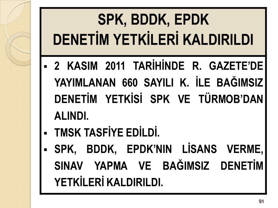 9191 SPK, BDDK, EPDK DENETİM YETKİLERİ KALDIRILDI  2 KASIM 2011 TARİHİNDE R.