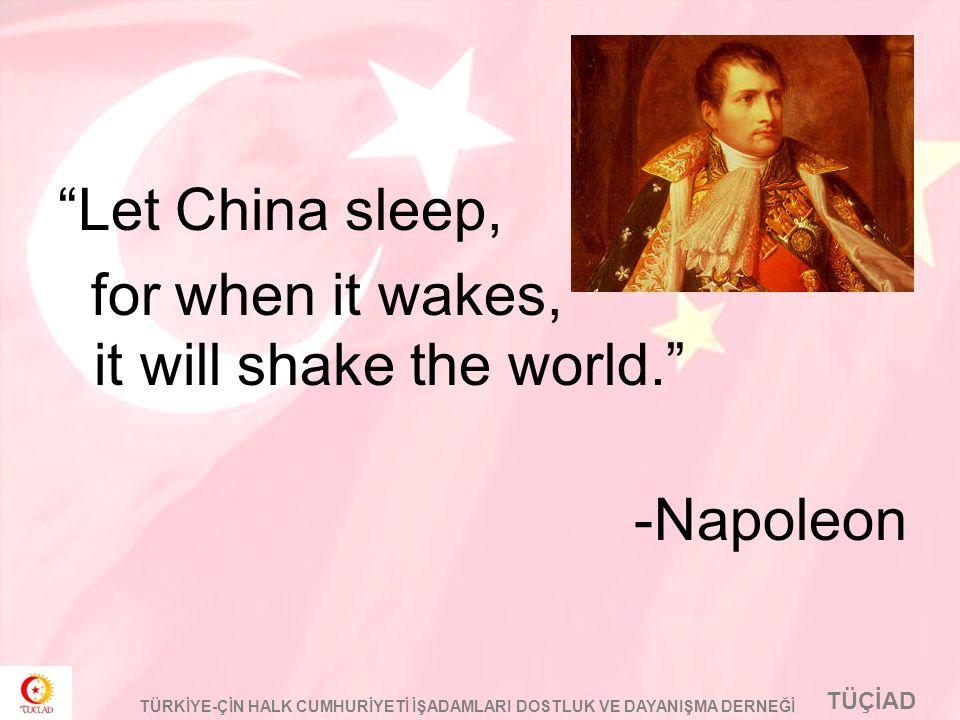 """TÜÇİAD TÜRKİYE-ÇİN HALK CUMHURİYETİ İŞADAMLARI DOSTLUK VE DAYANIŞMA DERNEĞİ """"Let China sleep, for when it wakes, it will shake the world."""" -Napoleon"""