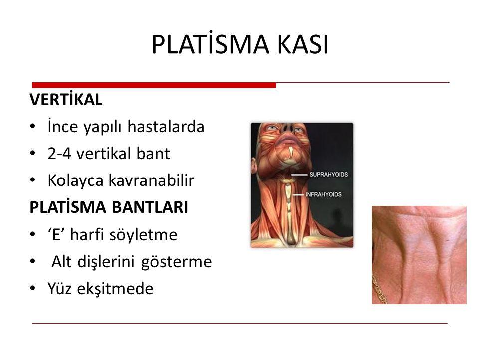 PLATİSMA KASI VERTİKAL İnce yapılı hastalarda 2-4 vertikal bant Kolayca kavranabilir PLATİSMA BANTLARI 'E' harfi söyletme Alt dişlerini gösterme Yüz e