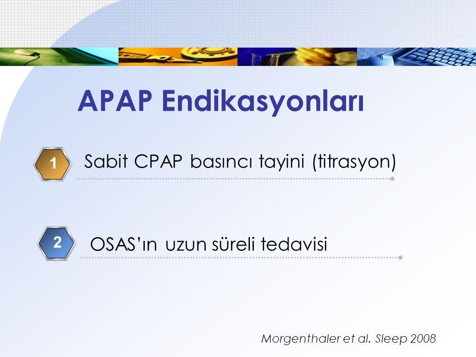 Sabit CPAP basıncı tayini (titrasyon) 1 OSAS'ın uzun süreli tedavisi 2 APAP Endikasyonları Morgenthaler et al. Sleep 2008