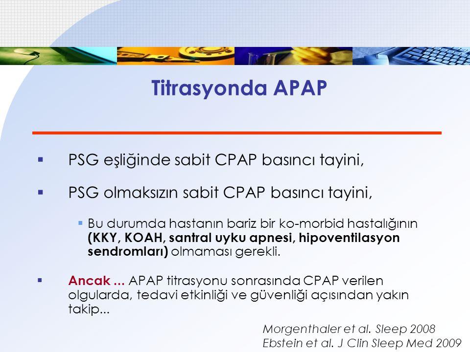 Titrasyonda APAP  PSG eşliğinde sabit CPAP basıncı tayini,  PSG olmaksızın sabit CPAP basıncı tayini,  Bu durumda hastanın bariz bir ko-morbid hast