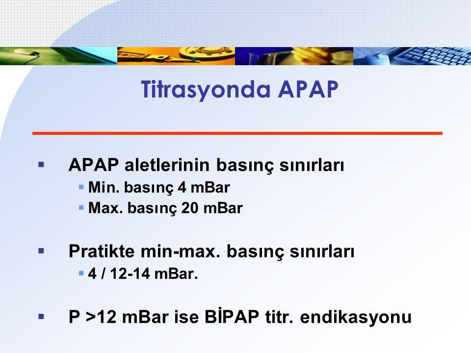 Titrasyonda APAP  APAP aletlerinin basınç sınırları  Min. basınç 4 mBar  Max. basınç 20 mBar  Pratikte min-max. basınç sınırları  4 / 12-14 mBar.