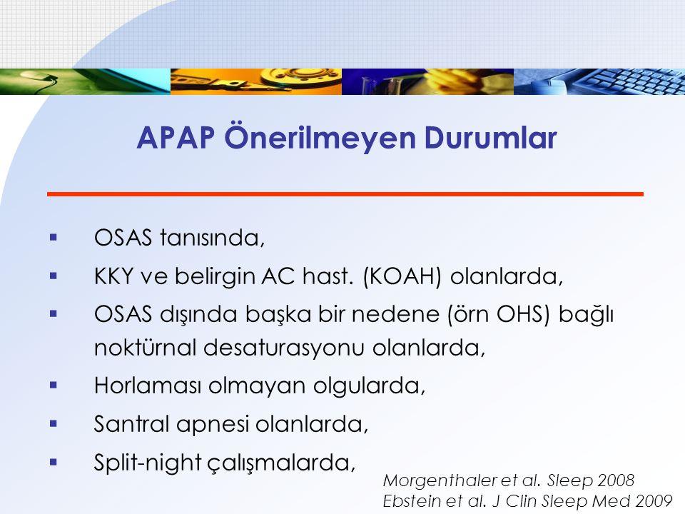 APAP Önerilmeyen Durumlar  OSAS tanısında,  KKY ve belirgin AC hast. (KOAH) olanlarda,  OSAS dışında başka bir nedene (örn OHS) bağlı noktürnal des
