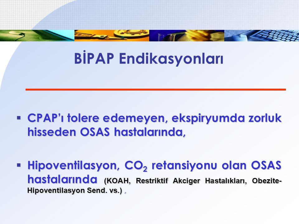BİPAP Endikasyonları  CPAP'ı tolere edemeyen, ekspiryumda zorluk hisseden OSAS hastalarında,  Hipoventilasyon, CO 2 retansiyonu olan OSAS hastaların