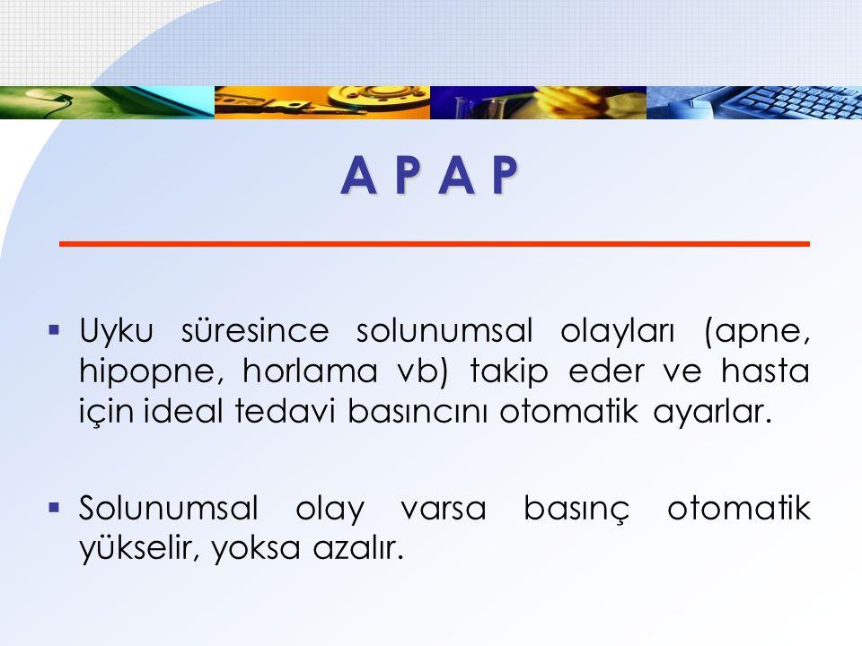 A P A P  Uyku süresince solunumsal olayları (apne, hipopne, horlama vb) takip eder ve hasta için ideal tedavi basıncını otomatik ayarlar.  Solunumsa
