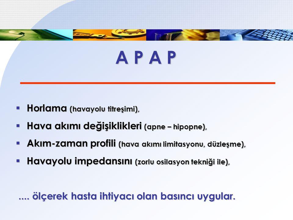 A P A P  Horlama (havayolu titreşimi),  Hava akımı değişiklikleri (apne – hipopne),  Akım-zaman profili (hava akımı limitasyonu, düzleşme),  Havay