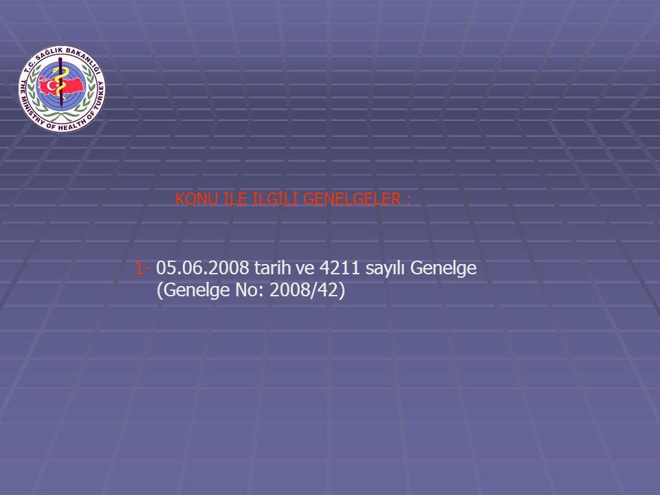 1- 05.06.2008 tarih ve 4211 sayılı Genelge (Genelge No: 2008/42) KONU İLE İLGİLİ GENELGELER :