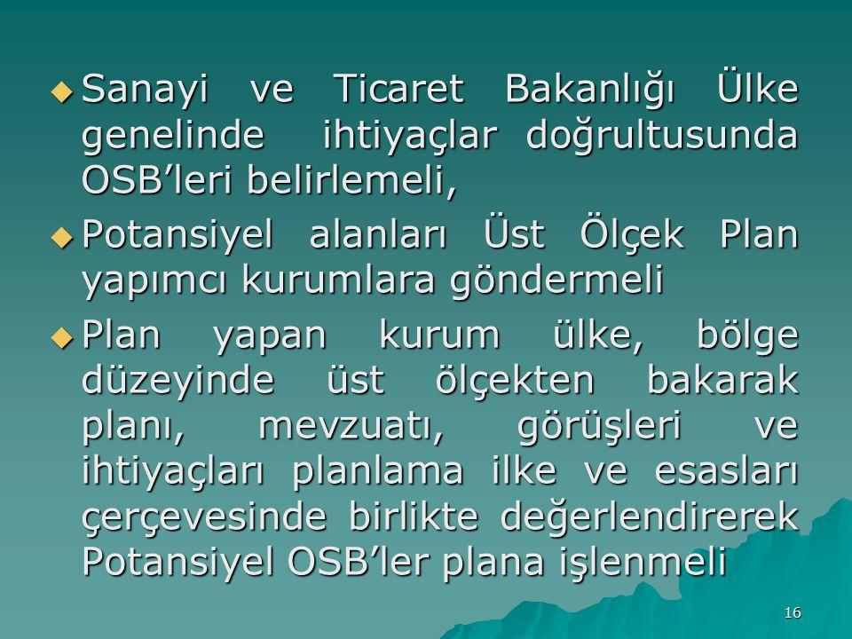  Sanayi ve Ticaret Bakanlığı Ülke genelinde ihtiyaçlar doğrultusunda OSB'leri belirlemeli,  Potansiyel alanları Üst Ölçek Plan yapımcı kurumlara göndermeli  Plan yapan kurum ülke, bölge düzeyinde üst ölçekten bakarak planı, mevzuatı, görüşleri ve ihtiyaçları planlama ilke ve esasları çerçevesinde birlikte değerlendirerek Potansiyel OSB'ler plana işlenmeli 16