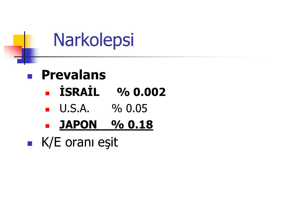 Narkolepsi Prevalans İSRAİL % 0.002 U.S.A. % 0.05 JAPON % 0.18 K/E oranı eşit