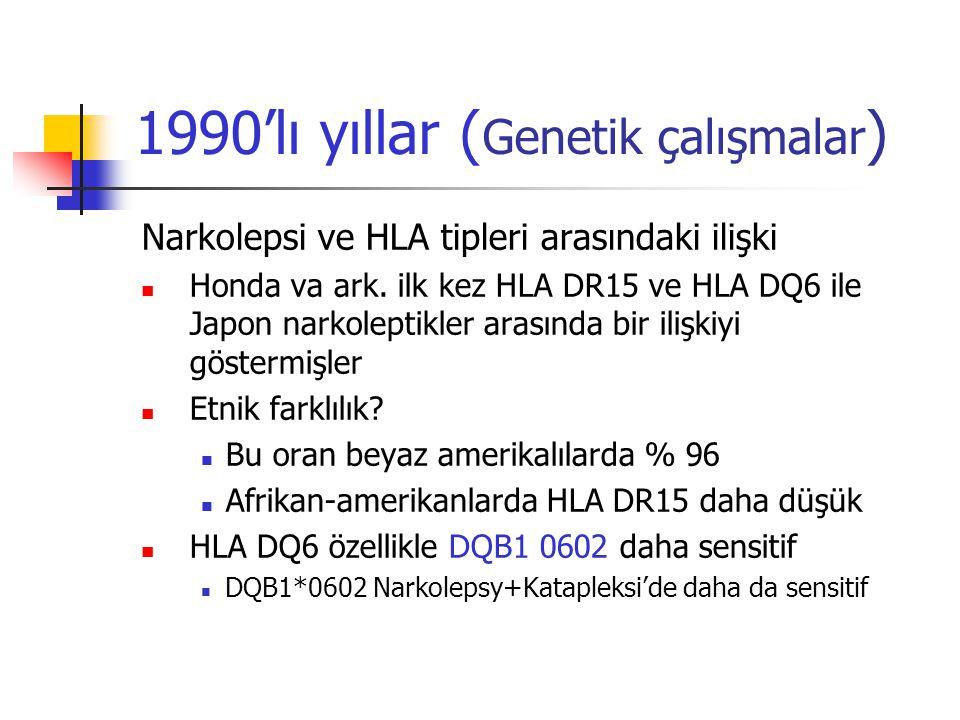 1990'lı yıllar ( Genetik çalışmalar ) Narkolepsi ve HLA tipleri arasındaki ilişki Honda va ark. ilk kez HLA DR15 ve HLA DQ6 ile Japon narkoleptikler a