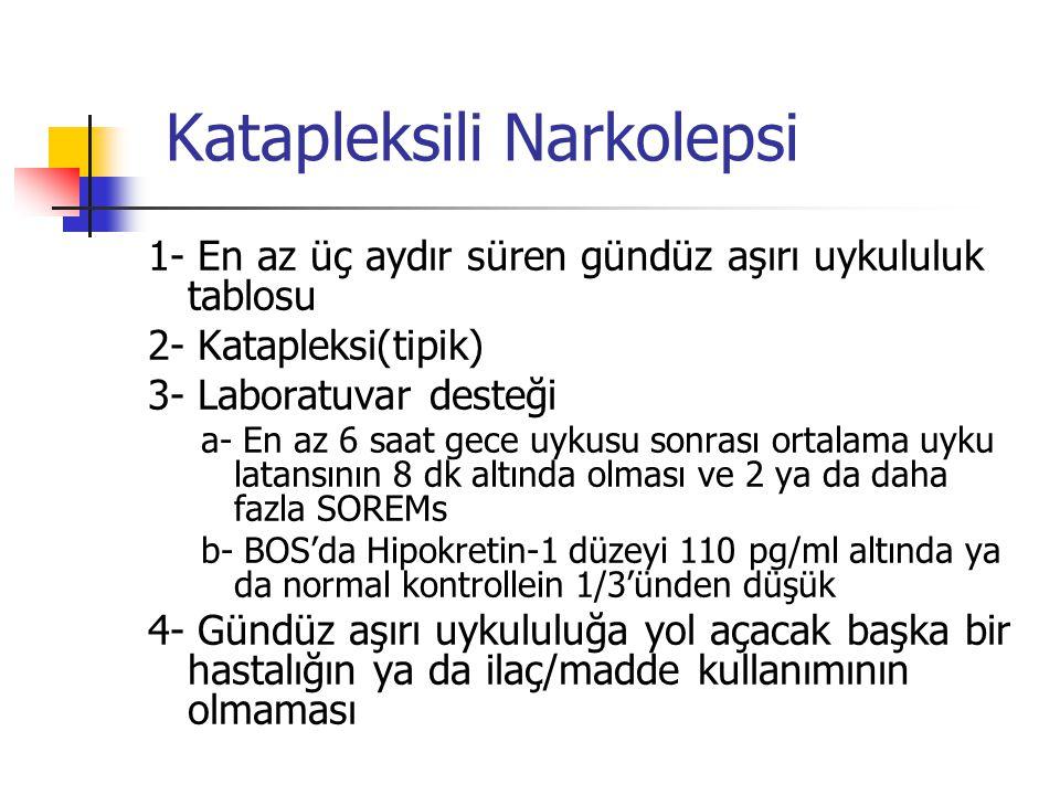 Katapleksili Narkolepsi 1- En az üç aydır süren gündüz aşırı uykululuk tablosu 2- Katapleksi(tipik) 3- Laboratuvar desteği a- En az 6 saat gece uykusu