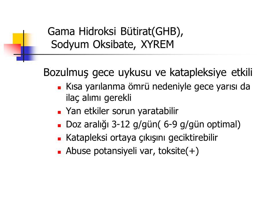 Gama Hidroksi Bütirat(GHB), Sodyum Oksibate, XYREM Bozulmuş gece uykusu ve katapleksiye etkili Kısa yarılanma ömrü nedeniyle gece yarısı da ilaç alımı