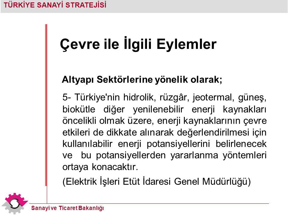 TÜRKİYE SANAYİ STRATEJİSİ Sanayi ve Ticaret Bakanlığı Çevre ile İlgili Eylemler Altyapı Sektörlerine yönelik olarak; 5- Türkiye'nin hidrolik, rüzgâr,