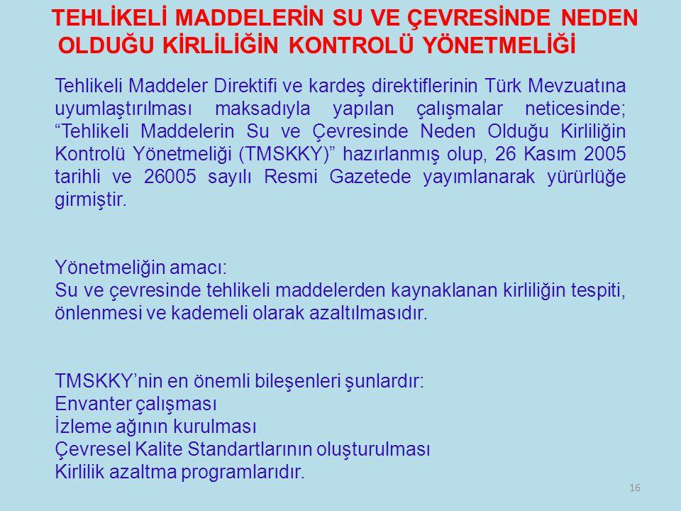 16 TEHLİKELİ MADDELERİN SU VE ÇEVRESİNDE NEDEN OLDUĞU KİRLİLİĞİN KONTROLÜ YÖNETMELİĞİ Tehlikeli Maddeler Direktifi ve kardeş direktiflerinin Türk Mevz