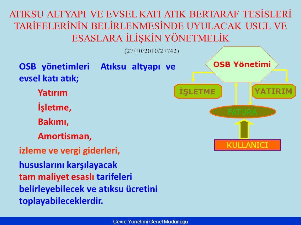 ATIKSU ALTYAPI VE EVSEL KATI ATIK BERTARAF TESİSLERİ TARİFELERİNİN BELİRLENMESİNDE UYULACAK USUL VE ESASLARA İLİŞKİN YÖNETMELİK (27/10/2010/27742) OSB