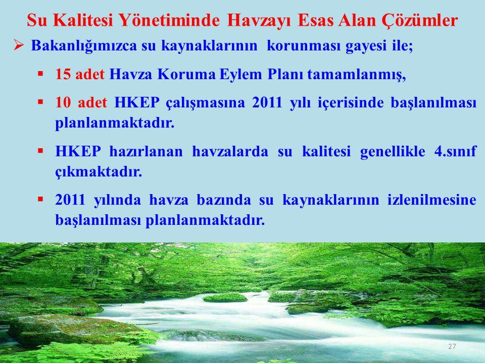 Su Kalitesi Yönetiminde Havzayı Esas Alan Çözümler  Bakanlığımızca su kaynaklarının korunması gayesi ile;  15 adet Havza Koruma Eylem Planı tamamlan
