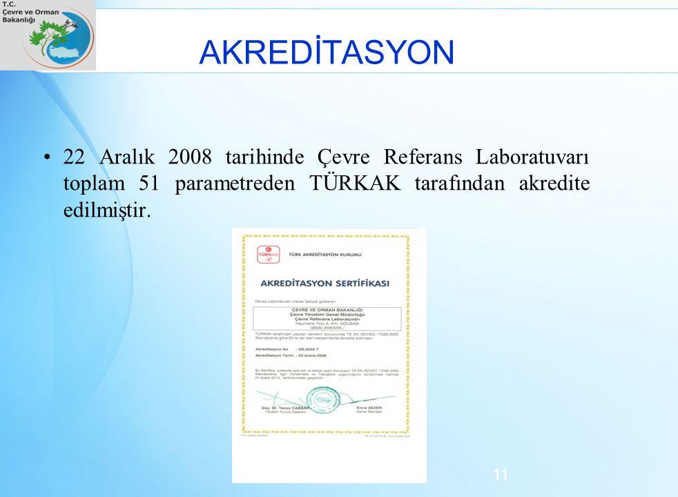 AKREDİTASYON 22 Aralık 2008 tarihinde Çevre Referans Laboratuvarı toplam 51 parametreden TÜRKAK tarafından akredite edilmiştir. 11