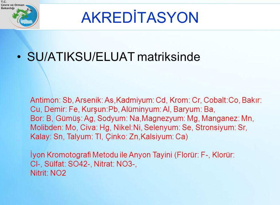 AKREDİTASYON SU/ATIKSU/ELUAT matriksinde Antimon: Sb, Arsenik: As,Kadmiyum: Cd, Krom: Cr, Cobalt:Co, Bakır: Cu, Demir: Fe, Kurşun:Pb, Alüminyum: Al, B