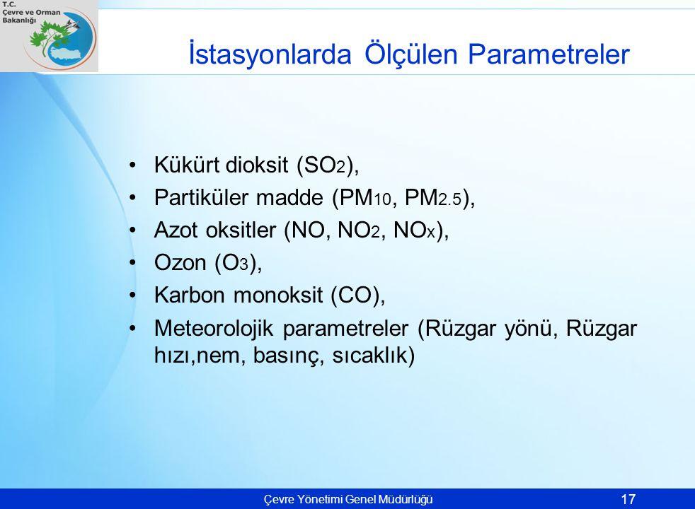 Çevre Yönetimi Genel Müdürlüğü İstasyonlarda Ölçülen Parametreler Kükürt dioksit (SO 2 ), Partiküler madde (PM 10, PM 2.5 ), Azot oksitler (NO, NO 2,