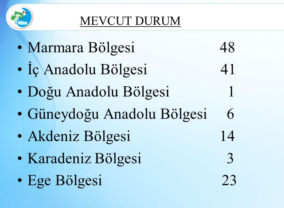 MEVCUT DURUM Marmara Bölgesi 48 İç Anadolu Bölgesi 41 Doğu Anadolu Bölgesi 1 Güneydoğu Anadolu Bölgesi 6 Akdeniz Bölgesi 14 Karadeniz Bölgesi 3 Ege Bö