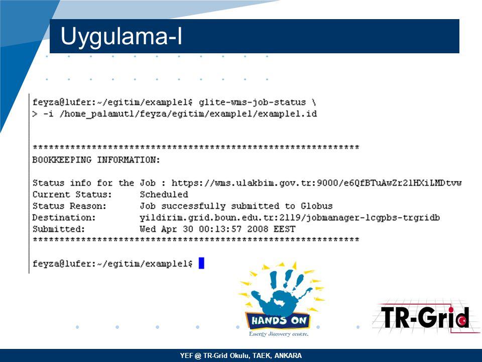 YEF @ TR-Grid Okulu, TAEK, ANKARA Uygulama-I