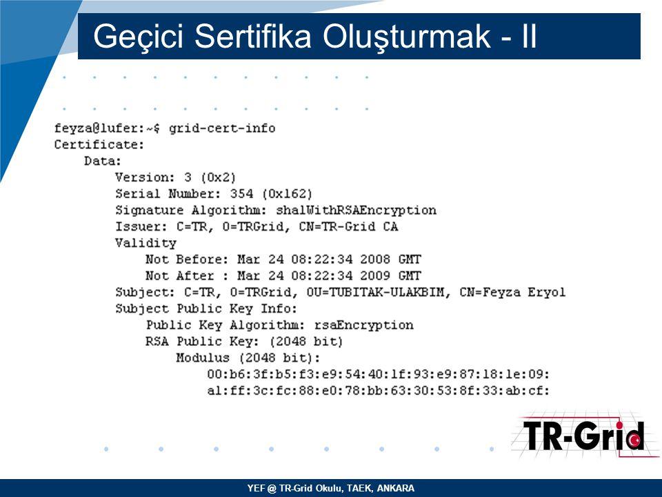 YEF @ TR-Grid Okulu, TAEK, ANKARA JDL Nitelikleri - VI –InputData – Giriş (input) dosyalarını gösteren (LFN) Logical File Name veya (GUID) Global Unique Identifier belirtilir.