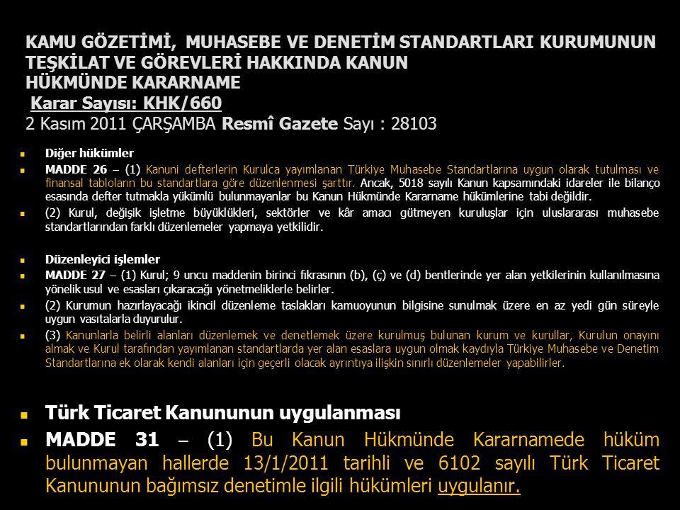 KAMU GÖZETİMİ, MUHASEBE VE DENETİM STANDARTLARI KURUMUNUN TEŞKİLAT VE GÖREVLERİ HAKKINDA KANUN HÜKMÜNDE KARARNAME Karar Sayısı: KHK/660 2 Kasım 2011 Ç