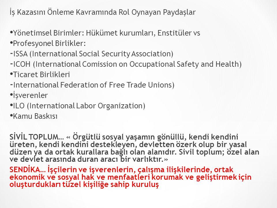 İş Kazasını Önleme Kavramında Rol Oynayan Paydaşlar Yönetimsel Birimler: Hükümet kurumları, Enstitüler vs Profesyonel Birlikler: - ISSA (International
