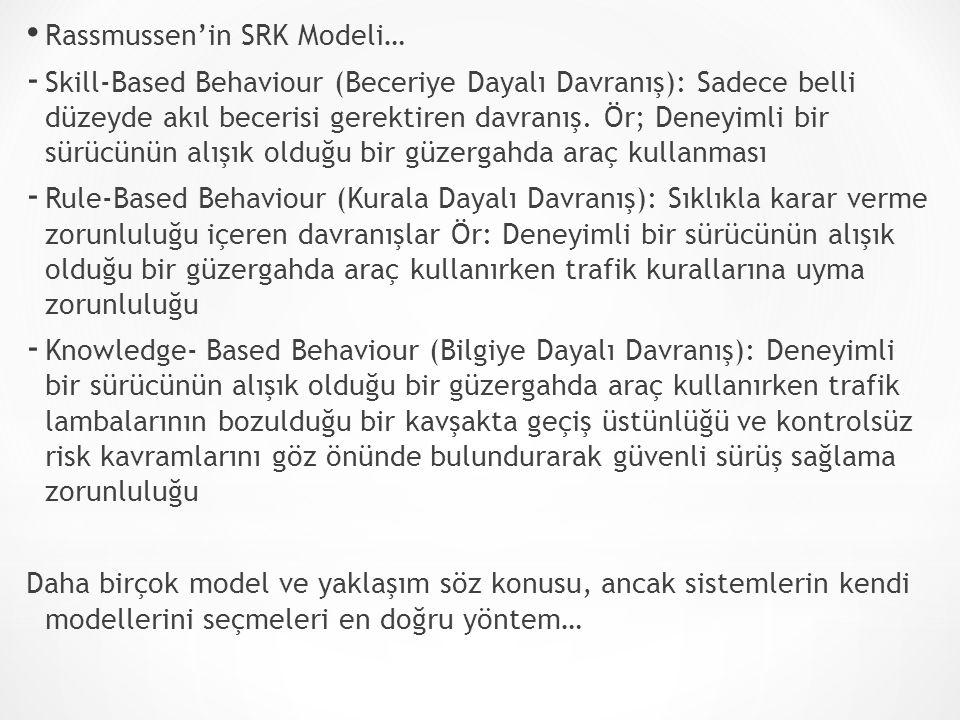 Rassmussen'in SRK Modeli… - Skill-Based Behaviour (Beceriye Dayalı Davranış): Sadece belli düzeyde akıl becerisi gerektiren davranış. Ör; Deneyimli bi