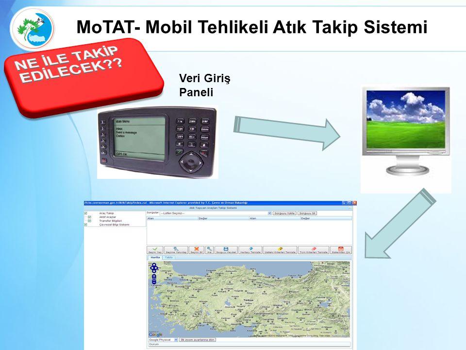 Veri Giriş Paneli MoTAT- Mobil Tehlikeli Atık Takip Sistemi