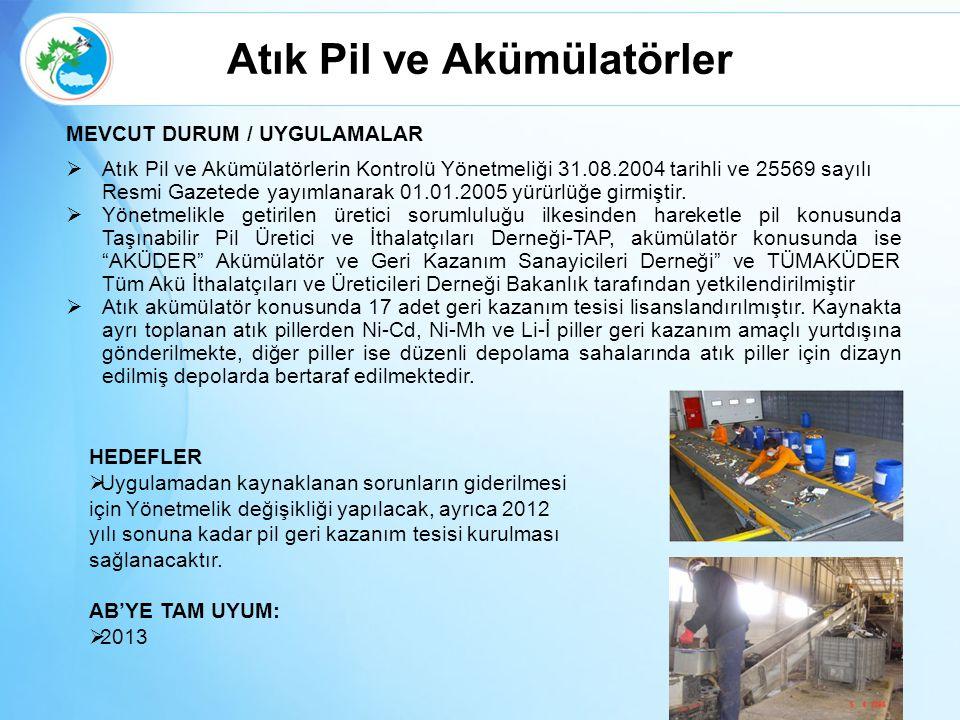Atık Pil ve Akümülatörler MEVCUT DURUM / UYGULAMALAR  Atık Pil ve Akümülatörlerin Kontrolü Yönetmeliği 31.08.2004 tarihli ve 25569 sayılı Resmi Gazet