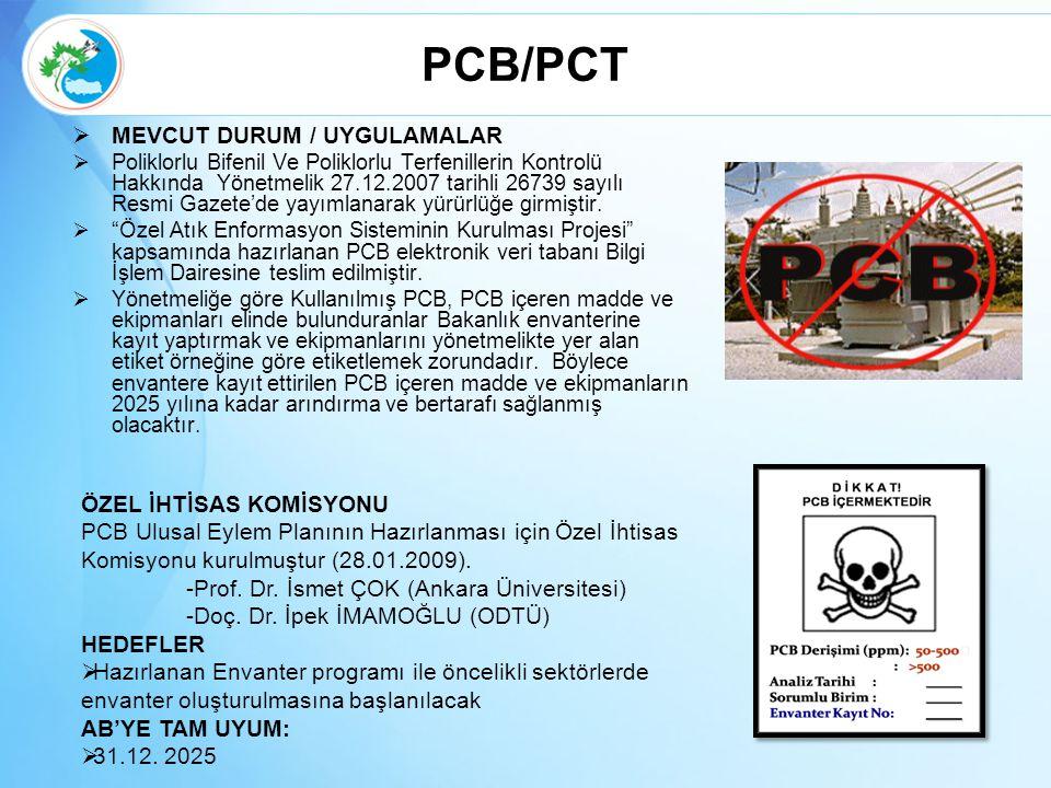 PCB/PCT  MEVCUT DURUM / UYGULAMALAR  Poliklorlu Bifenil Ve Poliklorlu Terfenillerin Kontrolü Hakkında Yönetmelik 27.12.2007 tarihli 26739 sayılı Res