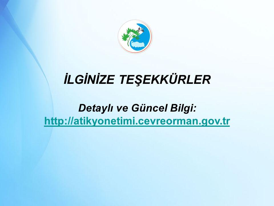 İLGİNİZE TEŞEKKÜRLER Detaylı ve Güncel Bilgi: http://atikyonetimi.cevreorman.gov.tr