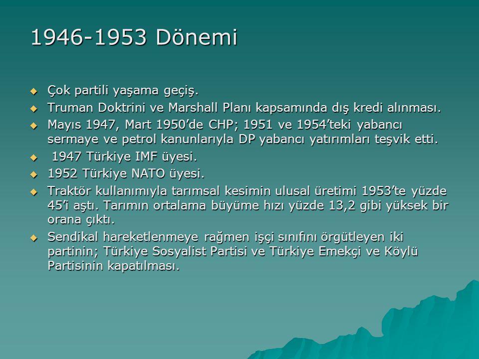 1946-1953 Dönemi  Çok partili yaşama geçiş.  Truman Doktrini ve Marshall Planı kapsamında dış kredi alınması.  Mayıs 1947, Mart 1950'de CHP; 1951 v