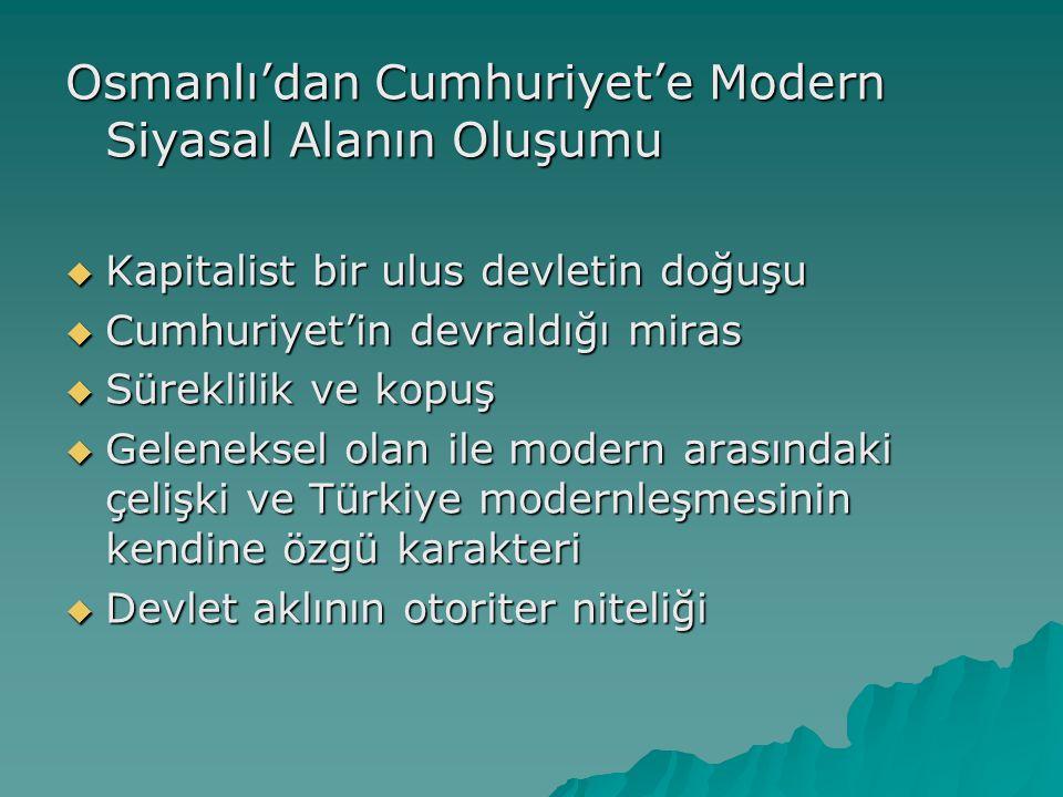 Osmanlı'dan Cumhuriyet'e Modern Siyasal Alanın Oluşumu  Kapitalist bir ulus devletin doğuşu  Cumhuriyet'in devraldığı miras  Süreklilik ve kopuş  Geleneksel olan ile modern arasındaki çelişki ve Türkiye modernleşmesinin kendine özgü karakteri  Devlet aklının otoriter niteliği