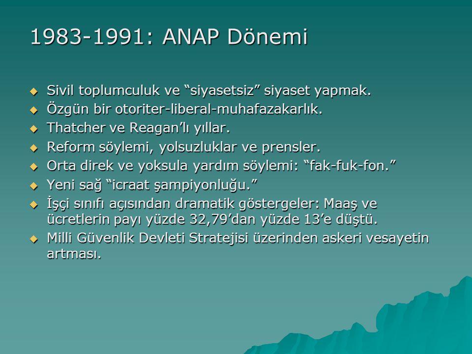 1983-1991: ANAP Dönemi  Sivil toplumculuk ve siyasetsiz siyaset yapmak.