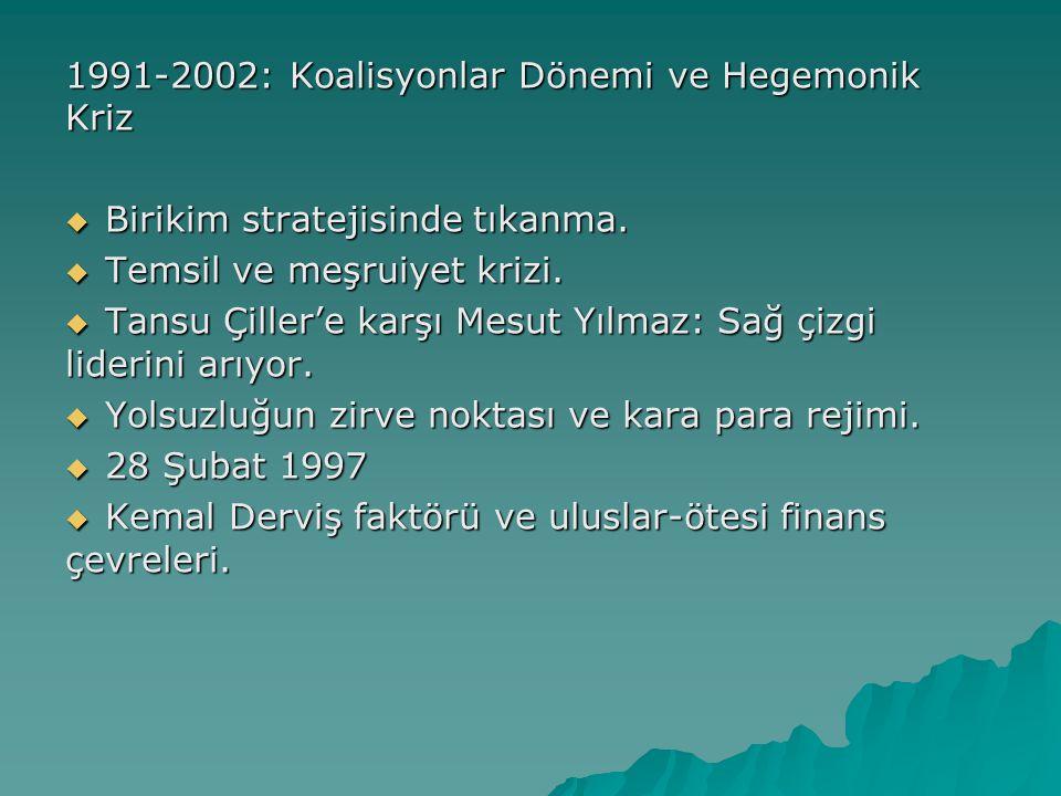 1991-2002: Koalisyonlar Dönemi ve Hegemonik Kriz  Birikim stratejisinde tıkanma.  Temsil ve meşruiyet krizi.  Tansu Çiller'e karşı Mesut Yılmaz: Sa