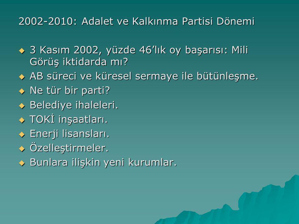 2002-2010: Adalet ve Kalkınma Partisi Dönemi  3 Kasım 2002, yüzde 46'lık oy başarısı: Mili Görüş iktidarda mı?  AB süreci ve küresel sermaye ile büt