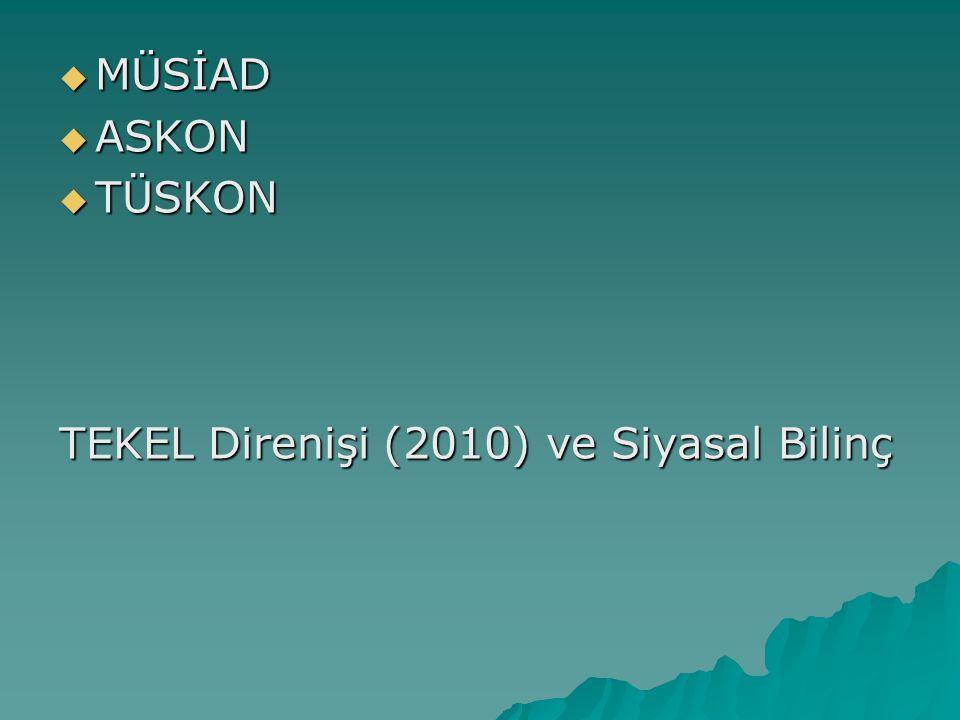  MÜSİAD  ASKON  TÜSKON TEKEL Direnişi (2010) ve Siyasal Bilinç