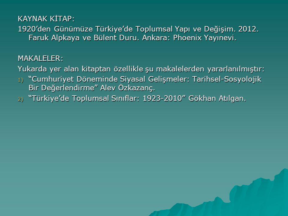 KAYNAK KİTAP: 1920'den Günümüze Türkiye'de Toplumsal Yapı ve Değişim. 2012. Faruk Alpkaya ve Bülent Duru. Ankara: Phoenix Yayınevi. MAKALELER: Yukarda