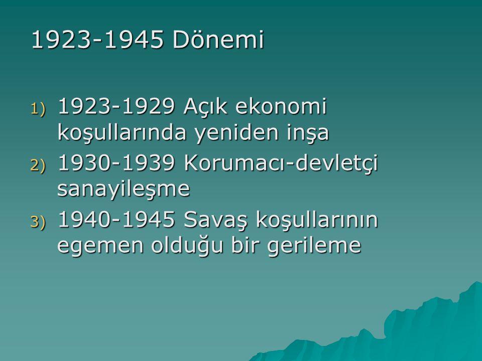 1923-1945 Dönemi 1) 1923-1929 Açık ekonomi koşullarında yeniden inşa 2) 1930-1939 Korumacı-devletçi sanayileşme 3) 1940-1945 Savaş koşullarının egemen olduğu bir gerileme