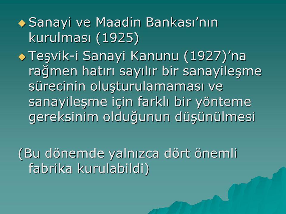  Sanayi ve Maadin Bankası'nın kurulması (1925)  Teşvik-i Sanayi Kanunu (1927)'na rağmen hatırı sayılır bir sanayileşme sürecinin oluşturulamaması ve