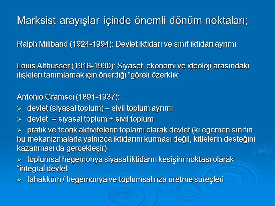 Marksist arayışlar içinde önemli dönüm noktaları; Ralph Miliband (1924-1994): Devlet iktidarı ve sınıf iktidarı ayrımı Louis Althusser (1918-1990): Si