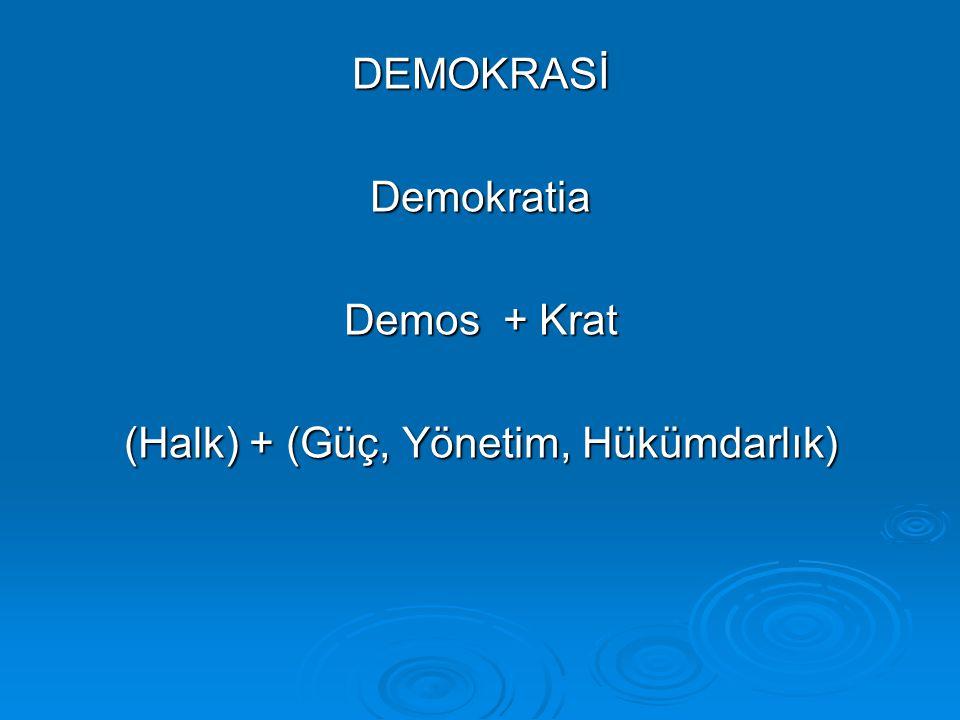 DEMOKRASİDemokratia Demos + Krat (Halk) + (Güç, Yönetim, Hükümdarlık)
