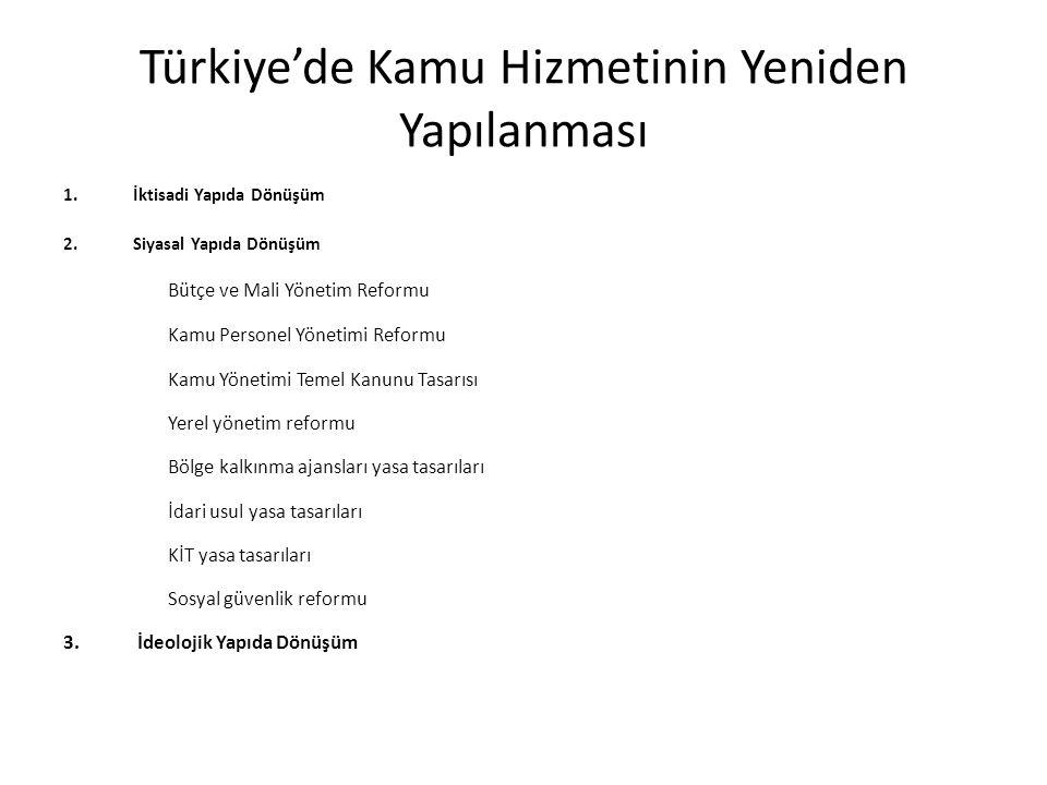 Türkiye'de Kamu Hizmetinin Yeniden Yapılanması 1.İktisadi Yapıda Dönüşüm 2.Siyasal Yapıda Dönüşüm Bütçe ve Mali Yönetim Reformu Kamu Personel Yönetimi